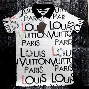 XL Size Louis Vuitton White Polo Shirt